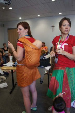 Traditional Babywearing with Canadian Babywearing School (Canadian First Nations under shirt for an Amauti)
