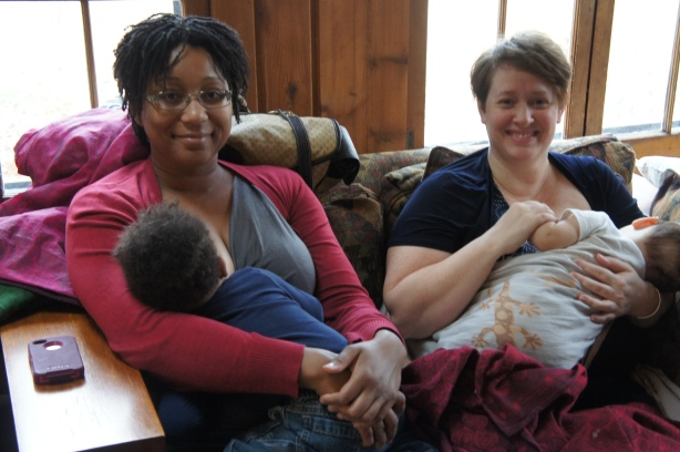 These beautiful mamas are nursing their boys at Ann Arbor Babywearers.  Their serene happy state was so inspirational!