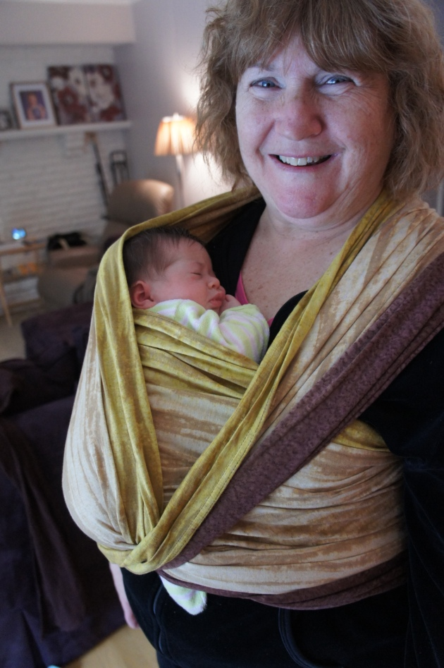 Grandma was glowing with pride for her babies, and I think she has caught the babywearing bug. :)  This is wrapsody Kai, and little girl triplet. :)