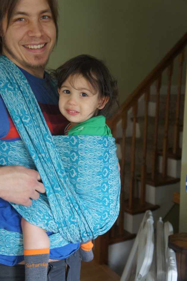 Babywearing still shows us our best moments as parents.  Even though it is fewer and farther between in our house these days.  This Oscha Nouveau Tiree is one of the most supportive yet not overly heavy wrap that is great in all seasons.