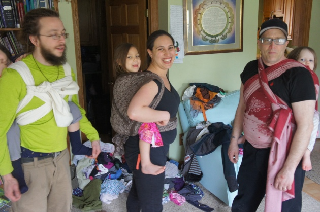 We had so much fun dancing around in our amazing supportive wraps, and huge children, just relishing the last of our babywearing days with our own children.